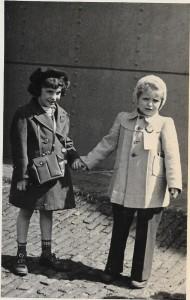 Julie bidding good luck to Janina Vaitkevicius, 5., 20,000th DP, April 24, 1949 at dock Bermerhaven, USAT General Taylor