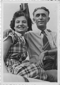 Julie's sister Laura and her father Abe Conan at a yacht race on the Weser River, August 1950.