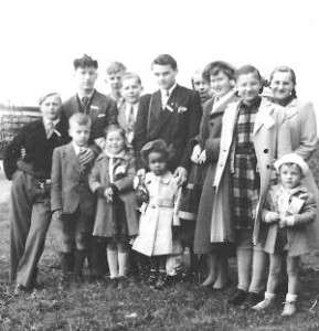 "Julie's father labeled this ""DP orphans departure for US, Bremen Airport, Spring 1950"