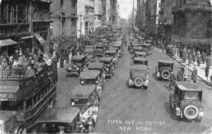 Fifth Avenue and 50th Street in New York City -a postcard written by cousin Georg Jaeckel to his cousin Hermann Raab in 1934