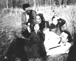 Family friend Bernard Fried in foreground and (l to r) Isodore Fried, Brucia Fried, Mathilda and Julie's sister Laura (1945?)
