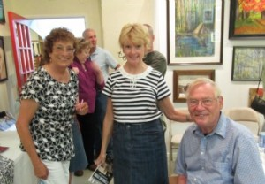 Julie and Rudi with Emily Hopkins at a July book event in Benicia's Once Upon a Canvas