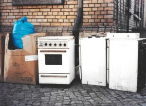 Weimer, Germany, 1990 after the Berlin Wall fell. Conversion to West German gas suppliers made these appliances obsolete